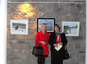 Bridie and Margret at Armagh Art club Christmas Exhibition